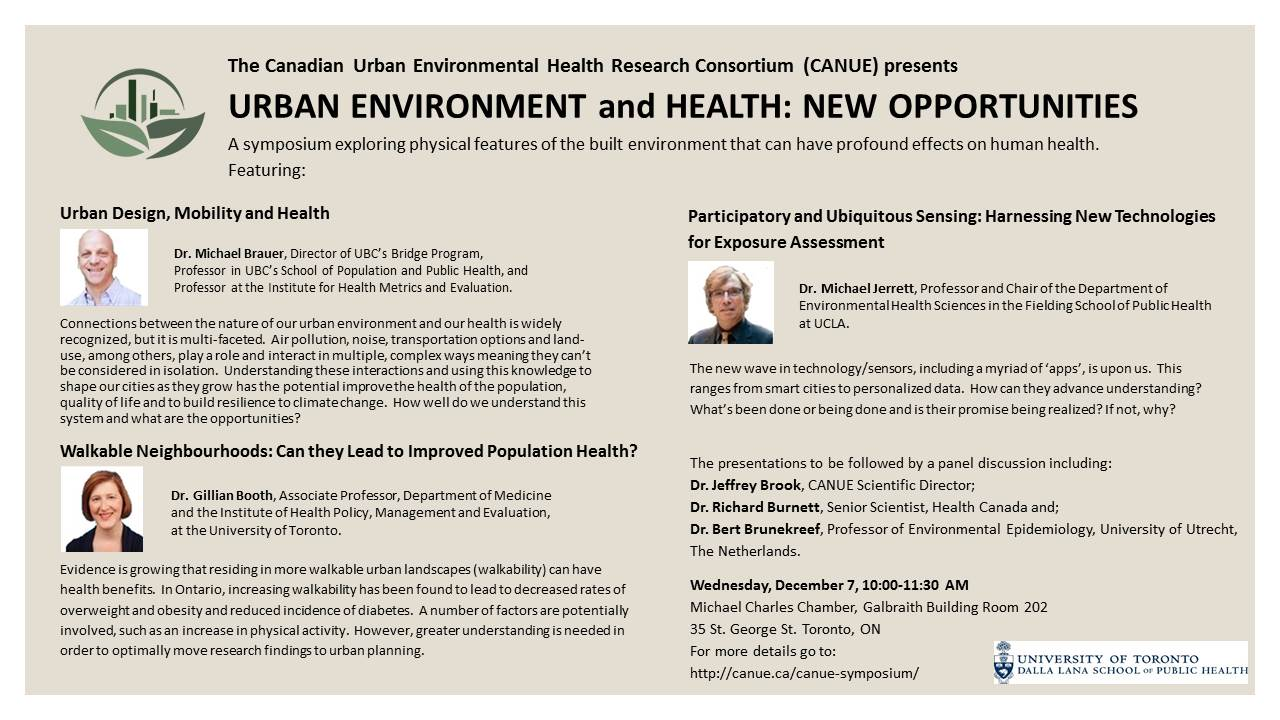 CANUE SYMPOSIUM: URBAN ENVIRONMENT and HEALTH: NEW OPPORTUNITIES